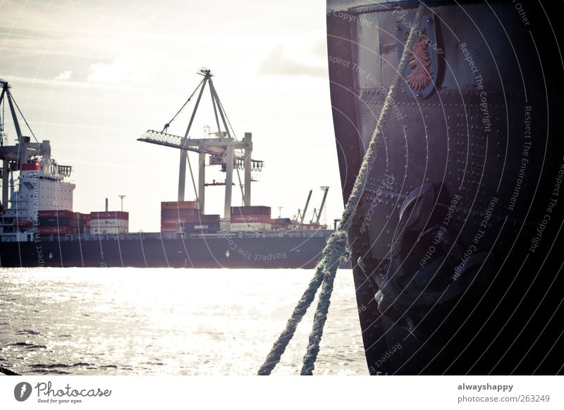 Ship in the Port of Hamburg Vacation & Travel Blue Brown Gray Red Black White Harbour Dock Watercraft Container Elbe Rope Colour photo Exterior shot Deserted