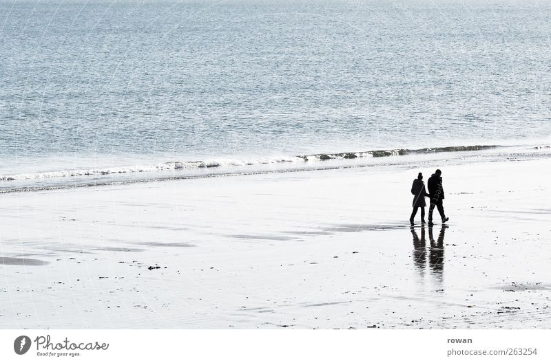 beach walk Human being Masculine Feminine Woman Adults Man Couple Partner Life 2 Water Beautiful weather Coast Beach Ocean Relaxation Going Together Happy Trust
