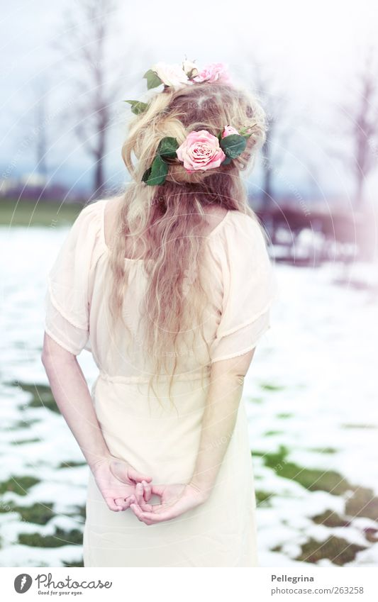 a dream of roses and lavender Human being Feminine Young woman Youth (Young adults) Body Back 1 18 - 30 years Adults Spring fever Romance Beautiful Colour photo