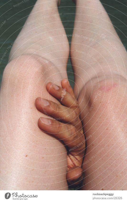 Woman Hand Eroticism Legs Touch Caresses Limbs Between