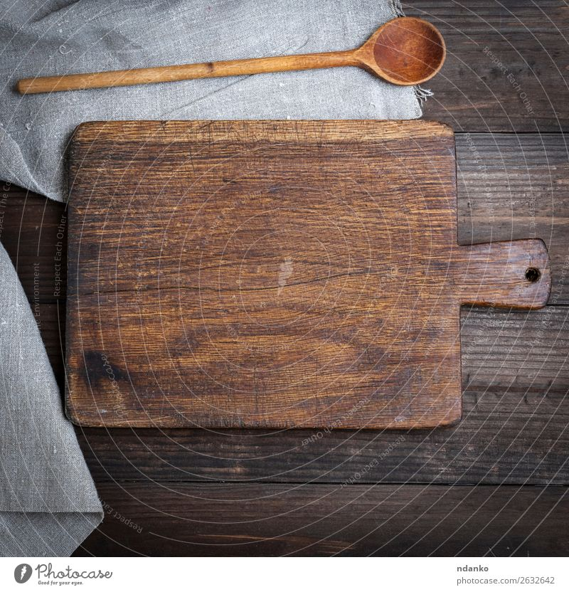 empty old brown wooden cutting board and spoon Nature Old Wood Brown Work and employment Metal Retro Vantage point Table Kitchen Top Rustic Tool Consistency