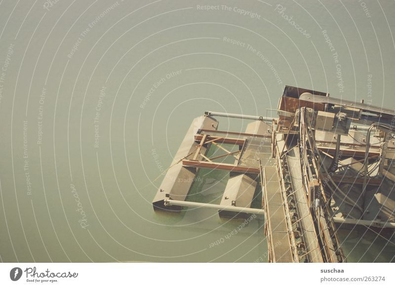 from above Environment Elements Water Lake Lake Baggersee Body of water conveyor Industrial plant Colour photo Subdued colour Exterior shot Copy Space left Day