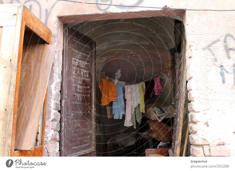 Old House (Residential Structure) Window Interior design Door Infancy Flat (apartment) Facade Dirty Poverty Living or residing Clothing Uniqueness Village Dry