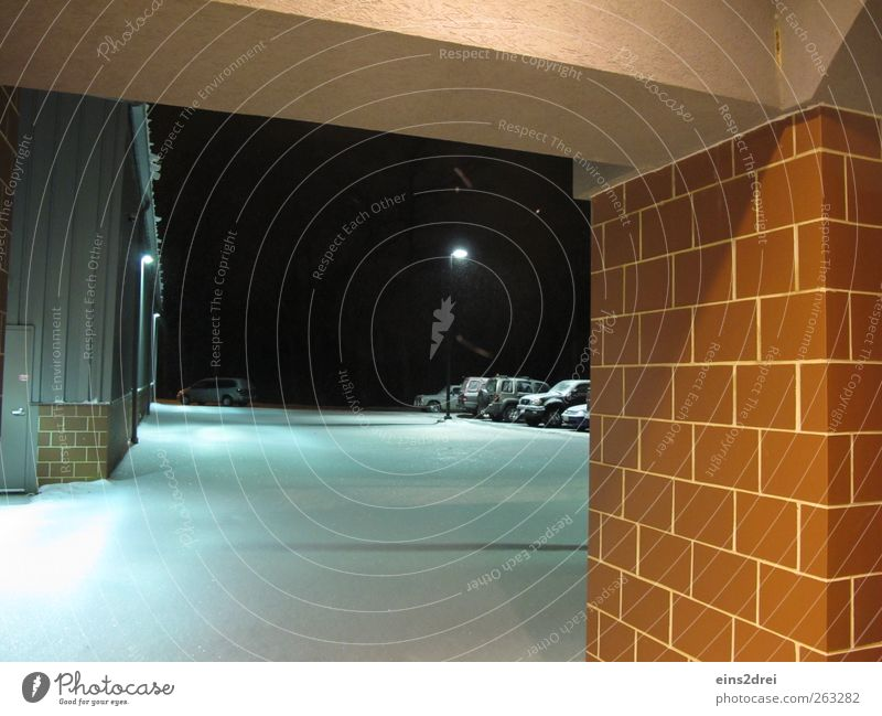 into the night Winter Weather Ice Frost Snow Town Deserted Factory Architecture Wall (barrier) Wall (building) Facade Door Parking Car Stone Brick Observe