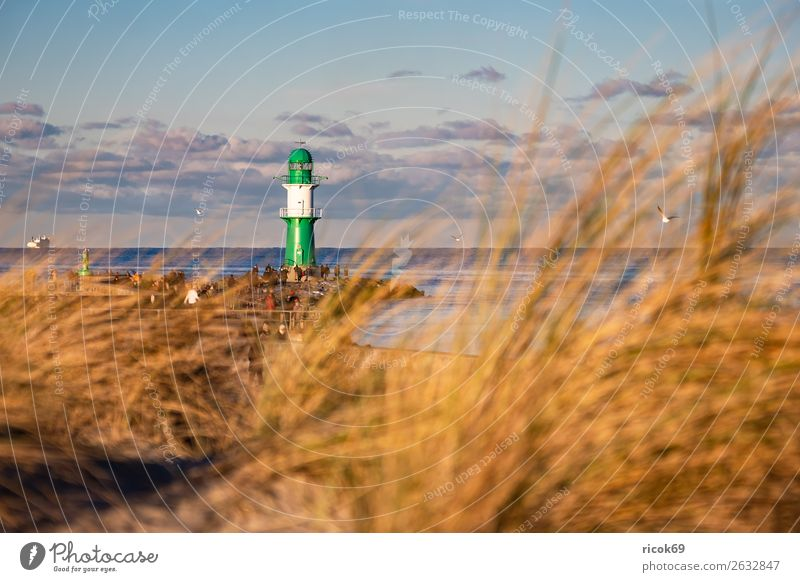 Mole at the Baltic Sea coast in Warnemünde Relaxation Vacation & Travel Tourism Clouds Coast Architecture Tourist Attraction Landmark Navigation Ferry