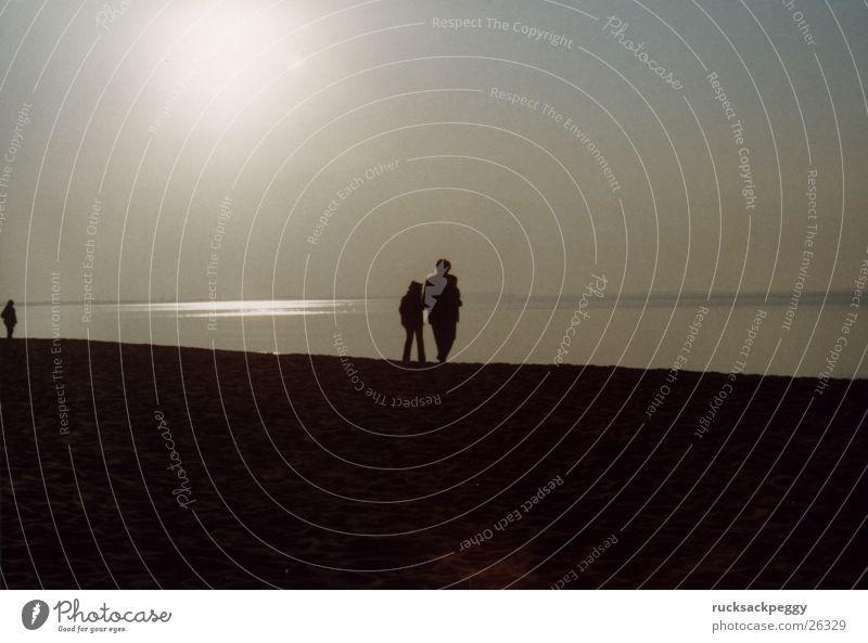 Ocean Beach Couple Coast In pairs Romance To go for a walk Baltic Sea Evening sun
