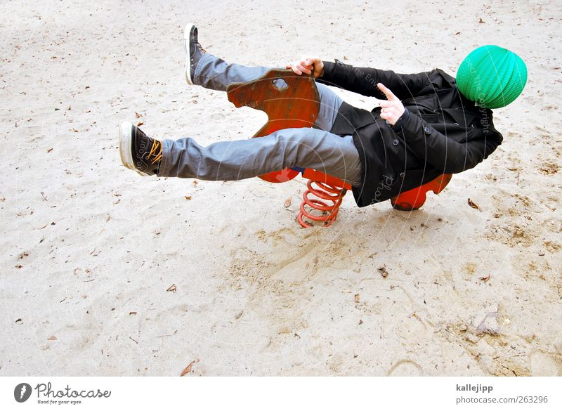 Human being Green Red Animal Playing Sand Art Leisure and hobbies Lifestyle Horse Jeans Direction Indicate Dynamics Sneakers Playground