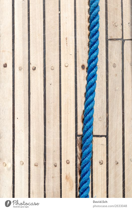 Blue ropes on ship's bottom Sailing Wood Brown Leisure and hobbies Protection Logistics Rope Plaited twisted Rotated leash Plank Pattern Structures and shapes