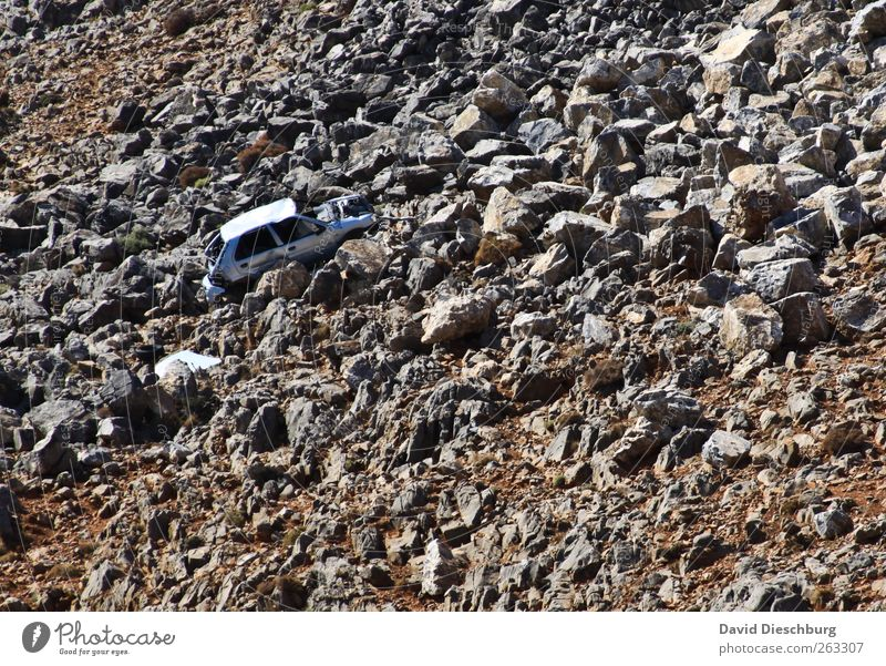 Stone Car Broken Individual Vehicle Accident Environmental pollution Means of transport Crash Damage Scrap metal Wrecked car Ready for scrap Car accident