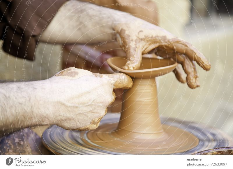 Potter working with clay Bowl Handicraft Work and employment Craft (trade) Man Adults Fingers Art Touch Make Dirty Wet Concentrate Creativity pottery Clay