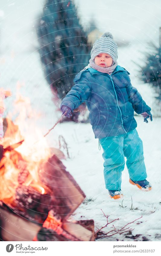 Boy playing a stick by campfire outdoors in the winter Lifestyle Joy Happy Leisure and hobbies Winter Snow Garden Child Human being Boy (child) 1 3 - 8 years