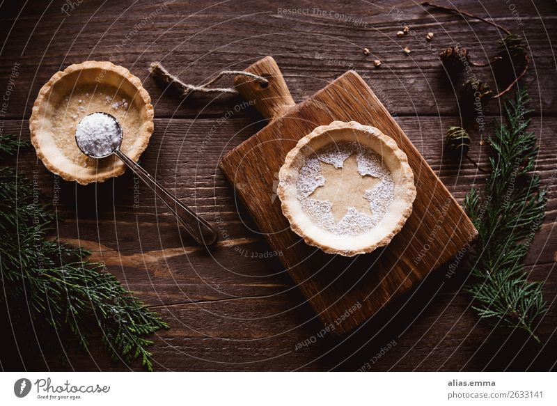 Christmas tart on wooden background and winter decoration Christmas & Advent Card Baked goods Christmas biscuit Decoration Winter Wood Rustic Short-crust pastry