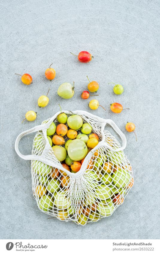 Apples from the garden in a cotton mesh bag Food Fruit Shopping Summer Gardening Nature Autumn Tree Concrete Simple Bright Hip & trendy Modern Natural Retro