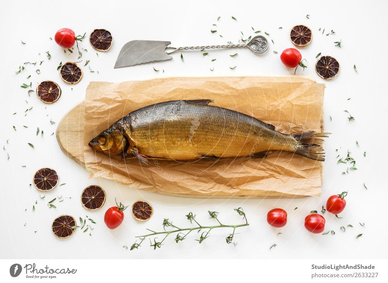 Smoked Omul fish with herbs and tomatoes Food Fish Seafood Vegetable Herbs and spices Nutrition Eating Lunch Dinner Knives Table Kitchen Delicious omul