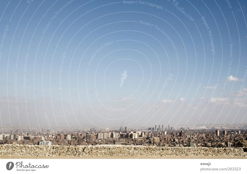 Cairo Sky Cloudless sky Summer Warmth Drought Desert Town Capital city Skyline House (Residential Structure) Poverty Concrete Dirty Colour photo Exterior shot