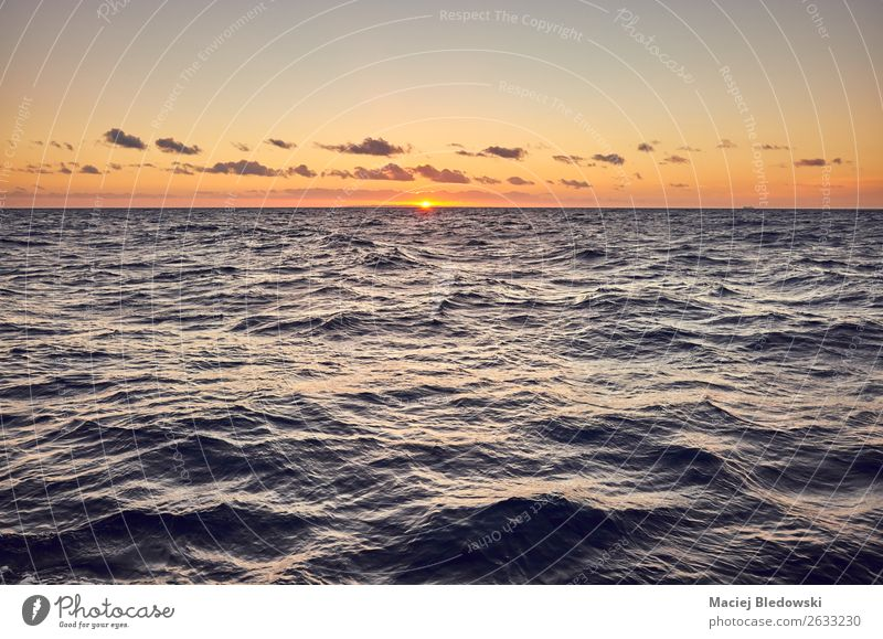 Picture of a sea at sunset. Vacation & Travel Cruise Sun Ocean Wallpaper Nature Landscape Sky Horizon Baltic Sea Dark Far-off places Moody Calm Hope Belief