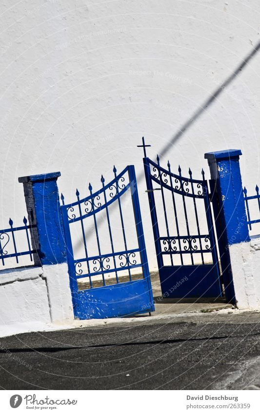 Blue White Wall (building) Religion and faith Wall (barrier) Stone Door Open Decoration Sign Christian cross Fence Crucifix Entrance Ornament Way out
