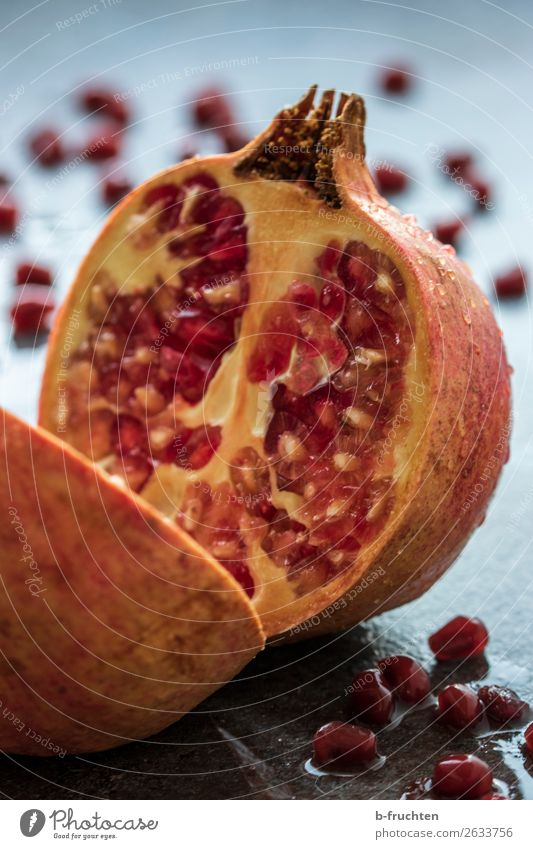 pomegranate Food Fruit Organic produce Vegetarian diet Healthy Eating Exotic Fresh Pomegranate Kernels & Pits & Stones Kitchen Table Drops of water cut Half