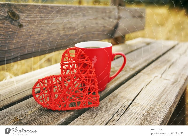 Red mug with coffee in a wooden bench outdoors in the morning Breakfast Beverage Hot drink Coffee Tea Cup Mug Winter Autumn Warmth Wood Heart Fresh Healthy
