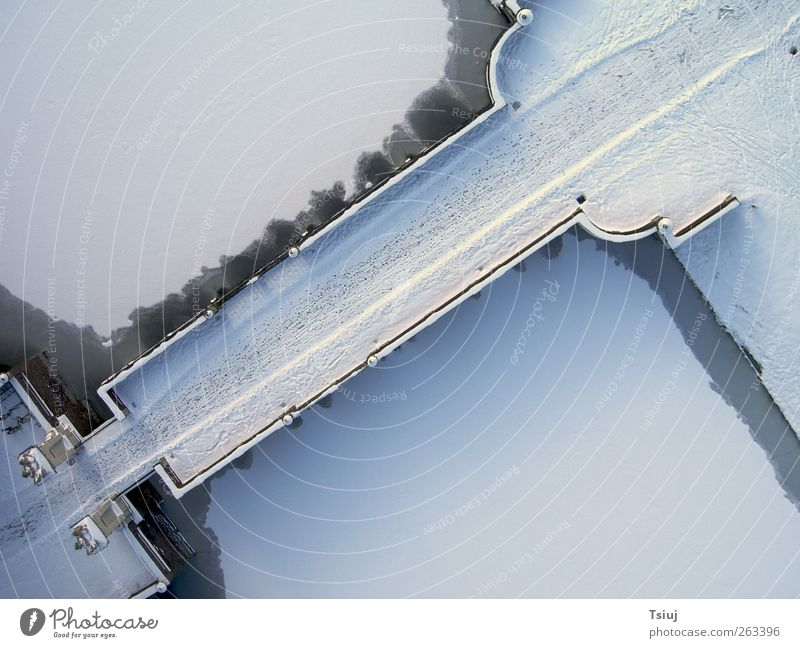 Tracks in the snow Winter Ice Frost Snow Bridge Cold Aerial photograph Footprint Castle moat Colour photo Exterior shot Deserted Contrast Bird's-eye view