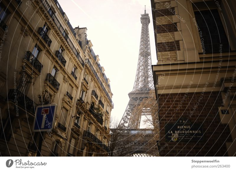 Eiffel Tower in Everyday Life II Paris France Europe Downtown Old town Deserted House (Residential Structure) Facade Balcony Window Tourist Attraction Landmark