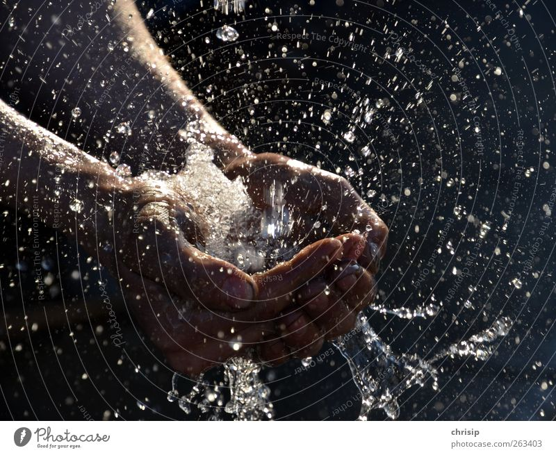 Water march!!! Human being Hand Fingers Drops of water Rain Touch Cleaning Wet Cleanliness Purity Splash of water Motion blur Palm of the hand Movement Dynamics