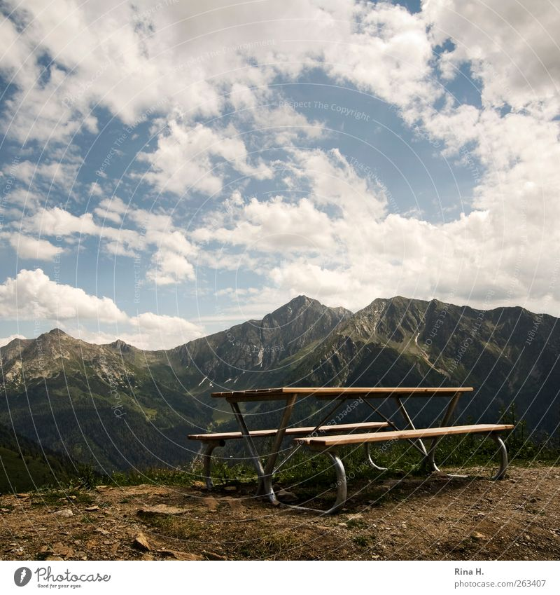 Nature Vacation & Travel Summer Clouds Loneliness Landscape Mountain Horizon Trip Tourism Table Bench Italy Beautiful weather Peak Wooden table