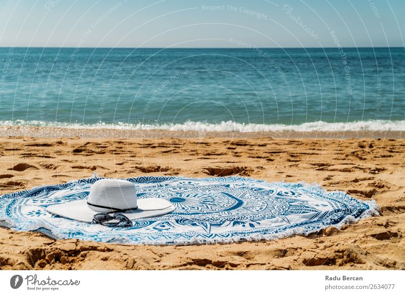 Round Beach Towel, Hat And Sunglasses In Summer Holiday Vacation & Travel Nature Blue Water Landscape White Ocean Relaxation Loneliness Lifestyle Warmth