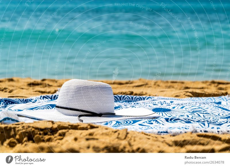 Round Beach Towel, Hat And Sunglasses In Summer Holiday Vacation & Travel Nature Blue Water Landscape White Ocean Relaxation Lifestyle Warmth Environment