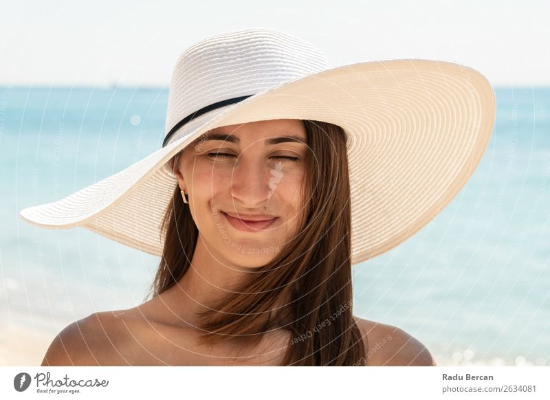 Young Woman Portrait With White Beach Hat Summer Youth (Young adults) Girl Fashion Ocean