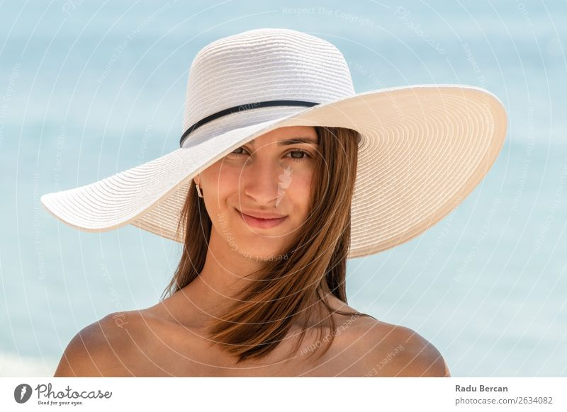 Young Woman Portrait With White Beach Hat Human being Vacation & Travel Nature Youth (Young adults) Young woman Summer Blue Colour Beautiful Water Landscape Sun