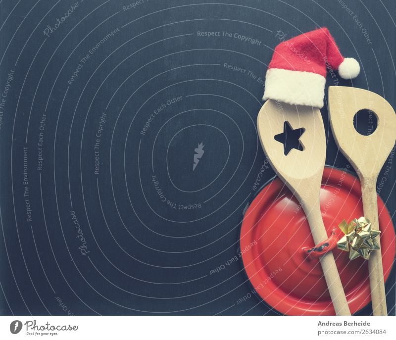 In the Christmas kitchen Banquet Pot Spoon Style Winter Restaurant Christmas & Advent Blackboard Hat Cap Wooden spoon Bow Tradition Background picture