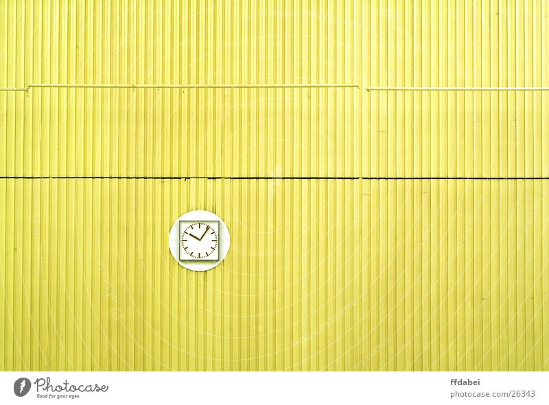 sixteen Wall (building) Clock Wall clock Yellow Indoor swimming pool Minimalistic Golden section Room Architecture Detail Modern Time