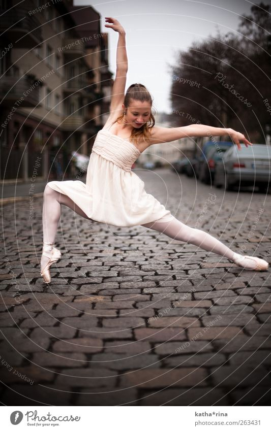 dance. Elegant Body Dance Feminine Young woman Youth (Young adults) 1 Human being 18 - 30 years Adults Ballet Town Dress Tights Ballet shoe Brunette Long-haired