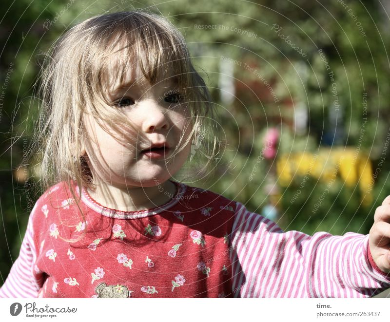 explorer of the world Feminine Child Girl Head Hair and hairstyles Face Arm 1 Human being 1 - 3 years Toddler Nature Beautiful weather Garden Observe Authentic