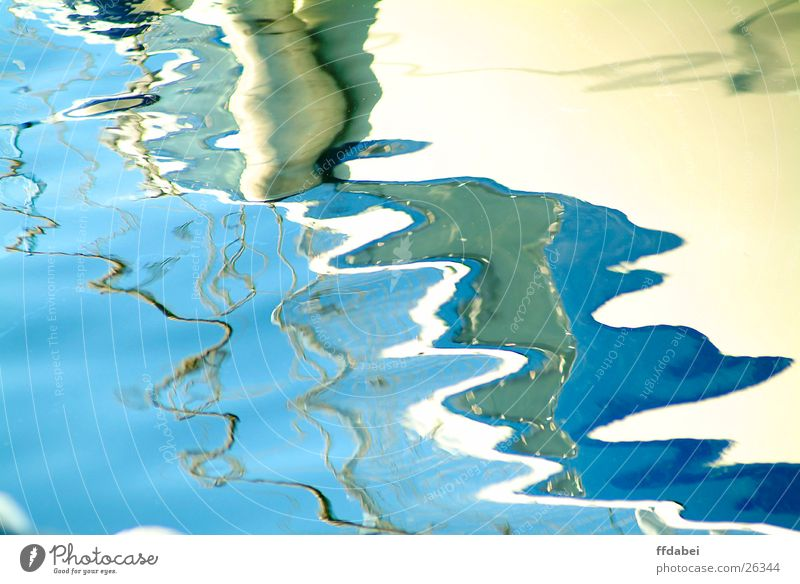 liquid surface Fluid Structures and shapes Reflection Sport boats Watercraft White Yacht Blue Harbour Nature Detail Freeze