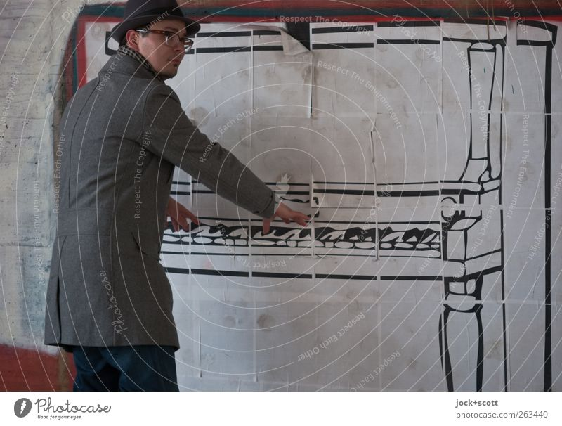 Air Piano (Swing) Subculture Street art Musician Wall (building) Coat Eyeglasses Hat Decoration Funny Creativity Pantomimist Imitate Painted Comic Illusion