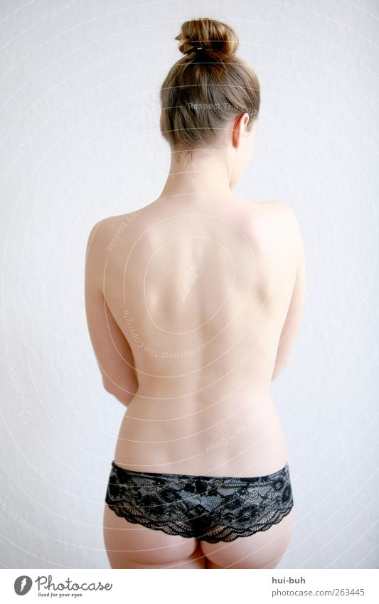 Fräulein Z of Spitze Elegant Style Design Beautiful Body Safety (feeling of) Eroticism Desire Lust Loneliness Inspiration Lace Underwear Naked flesh Hide Back