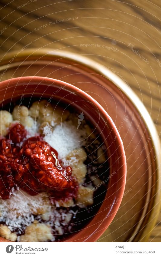 RaspberryCoconutCrumble Dessert Candy Jam Nutrition Plate Bowl Delicious Sweet Colour photo Interior shot Deserted Copy Space top Day Shallow depth of field