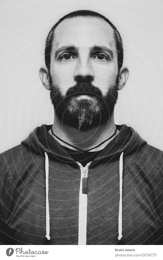 Bearded man. Human being Youth (Young adults) Man Beautiful Young man White Calm Black Face Adults Art Hair and hairstyles Head Masculine Stand Creativity