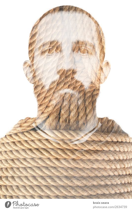 Man and rope Beautiful Face Business Rope Masculine Young man Youth (Young adults) Adults Hand 1 Human being 30 - 45 years Art Nature Beard Eroticism Crazy Wild