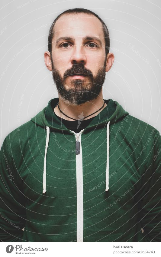 Man with green sweatshirt. Human being Youth (Young adults) Beautiful Green Young man Face Lifestyle Adults Natural Funny Sports Style Masculine Stand Happiness