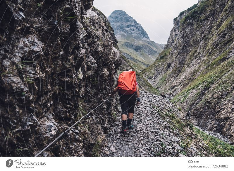 Nature Youth (Young adults) Young woman Landscape Mountain 18 - 30 years Adults Rock Going Hiking Weather Idyll Adventure Footpath Discover Alps