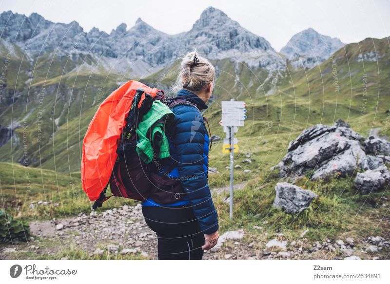 Nature Vacation & Travel Youth (Young adults) Young woman Landscape Loneliness Mountain 18 - 30 years Adults Leisure and hobbies Hiking Blonde