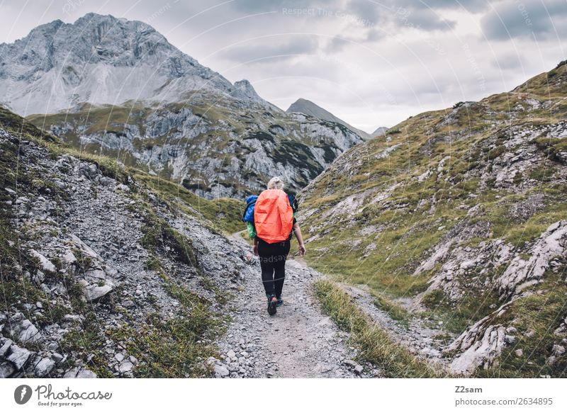 Nature Vacation & Travel Youth (Young adults) Young woman Landscape Loneliness Mountain 18 - 30 years Adults Autumn Sports Leisure and hobbies Hiking Blonde