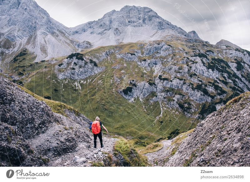 E5 | Descent to Holzgau Vacation & Travel Adventure Hiking Young woman Youth (Young adults) 30 - 45 years Adults Nature Landscape Rock Alps Mountain Backpack
