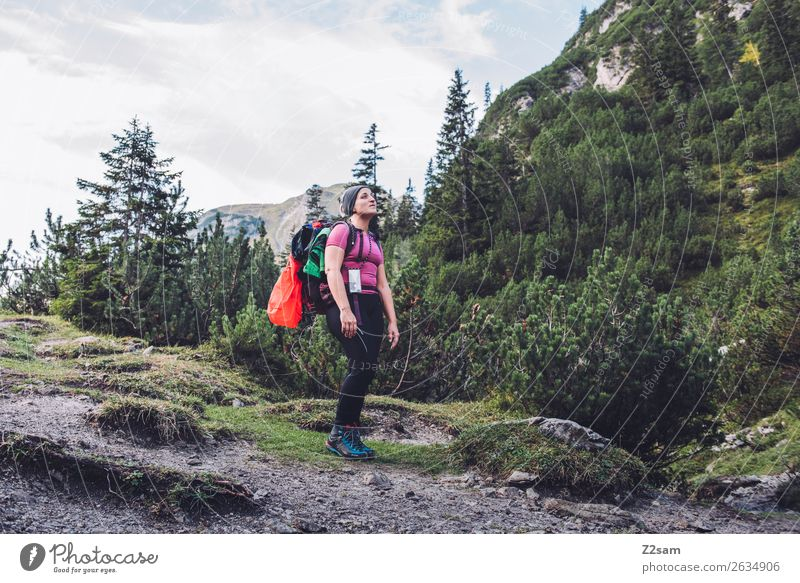 Nature Vacation & Travel Youth (Young adults) Young woman Landscape Loneliness Forest Mountain 18 - 30 years Adults Freedom Hiking Blonde Power Idyll Stand