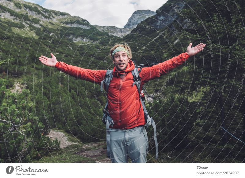 Nature Vacation & Travel Youth (Young adults) Young man Loneliness Mountain Adults Natural Happy Freedom Leisure and hobbies Hiking Blonde Idyll