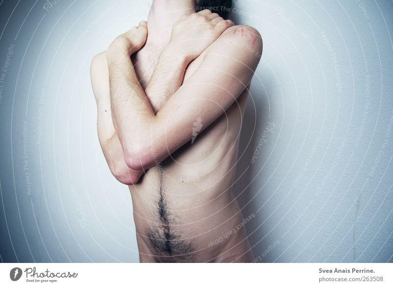 Human being Youth (Young adults) Hand Body Arm Skin Masculine Hair To hold on Thin Longing Young man Pain Stomach Headless Naked flesh