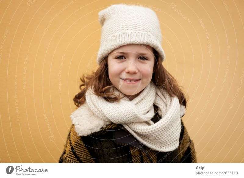 Pretty little girl in the street Joy Happy Beautiful Face Winter Child Human being Toddler Woman Adults Family & Relations Infancy Autumn Warmth Street Fashion